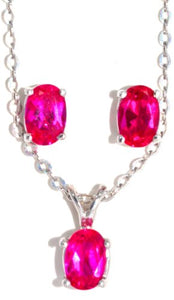 1.5 Carat Created Ruby Oval Stud Earrings & Pendant Set .925 Sterling Silver ...