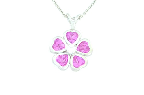 2.5 Ct Pink Sapphire Heart Bezel Pendant .925 Sterling Silver Rhodium Finish