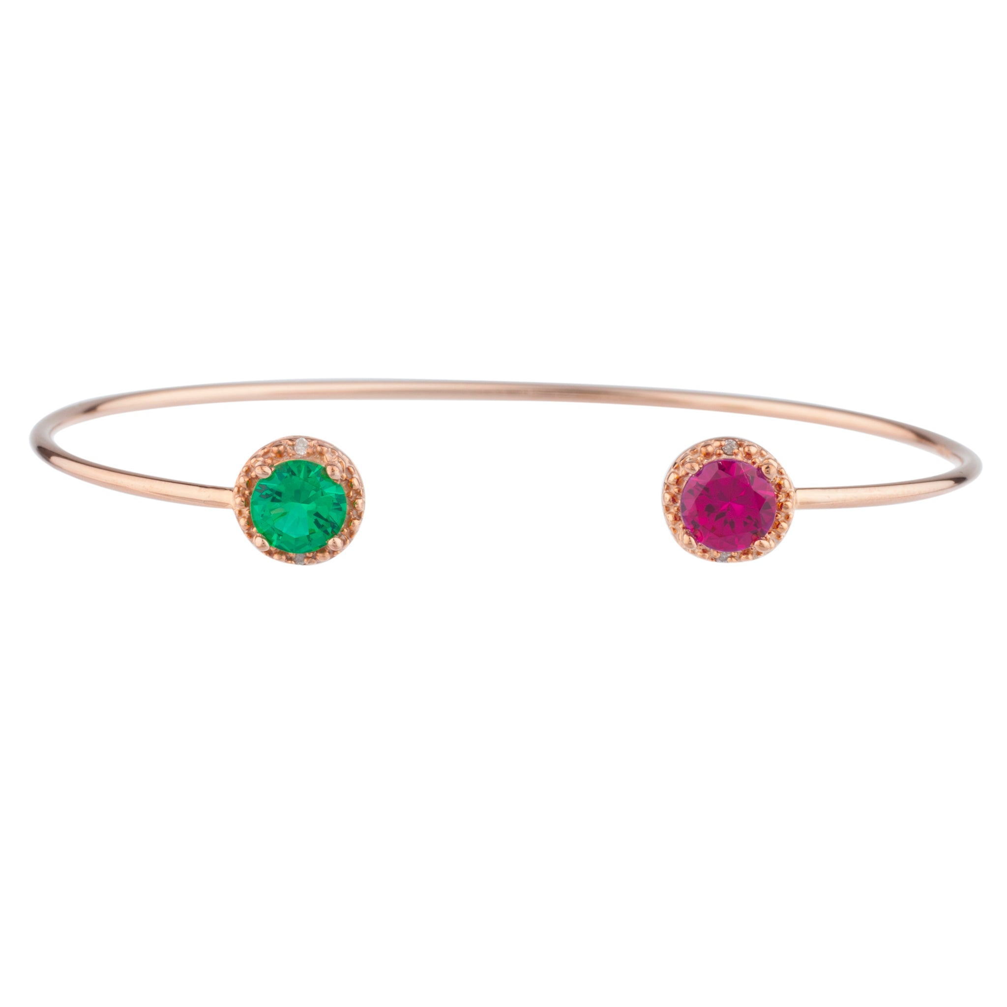 Ruby & Emerald Diamond Bangle Round Bracelet 14Kt Rose Gold Plated Over .925 Sterling Silver