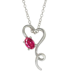 0.50 Ct Pink Sapphire Oval Heart Pendant .925 Sterling Silver Rhodium Finish