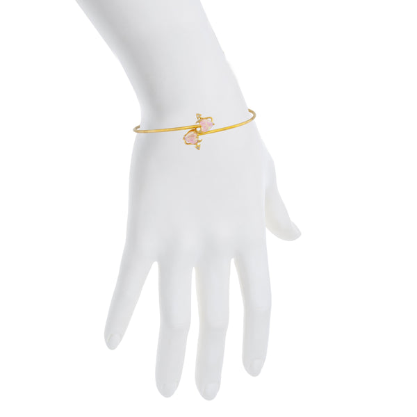 14Kt Gold Pink Opal & Diamond Devil Heart Bangle Bracelet