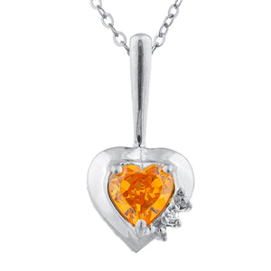 Orange Citrine & Diamond Heart Pendant .925 Sterling Silver