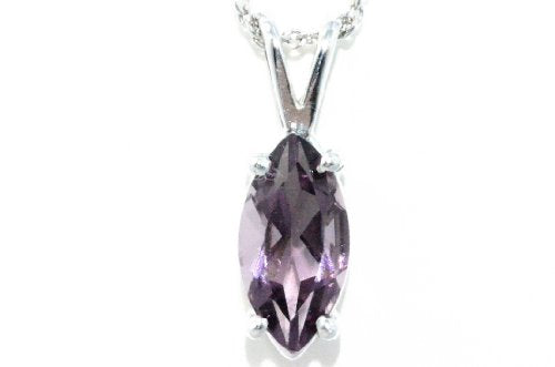 1 Carat Alexandrite Marquise Pendant .925 Sterling Silver Rhodium Finish