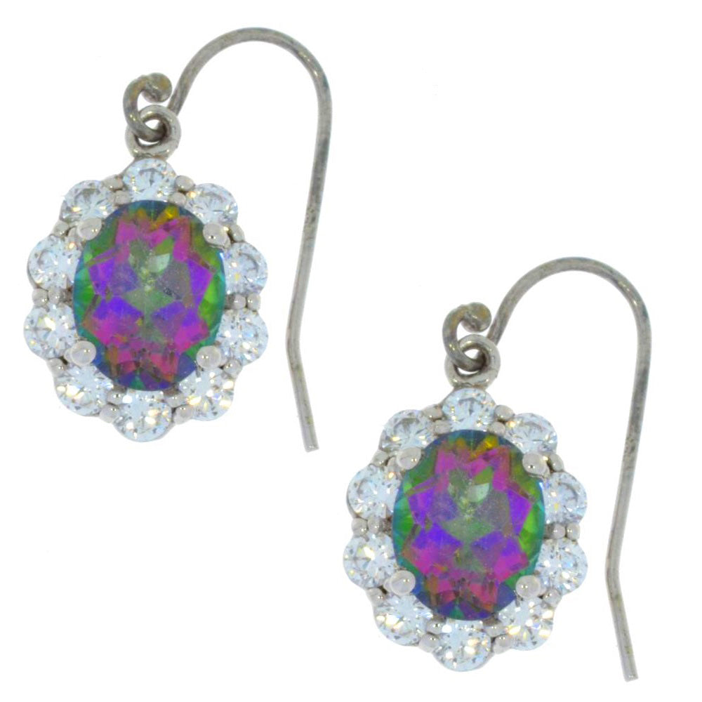 8 Ct Mystic Topaz & Zirconia Oval Dangle Earrings .925 Sterling Silver