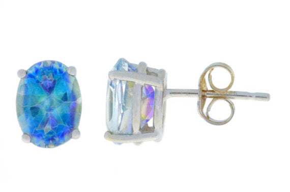 3 Carat Natural Blue Mystic Topaz Oval Stud Earrings .925 Sterling Silver