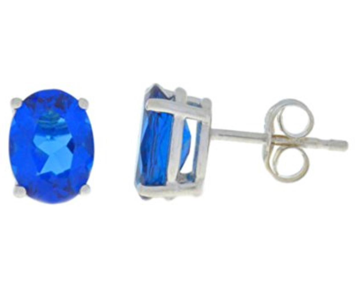 1 Carat Created Blue Sapphire Oval Stud Earrings .925 Sterling Silver