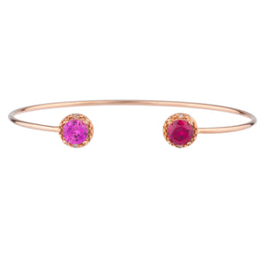 Pink Sapphire & Ruby Diamond Bangle Round Bracelet 14Kt Rose Gold Plated Over .925 Sterling Silver