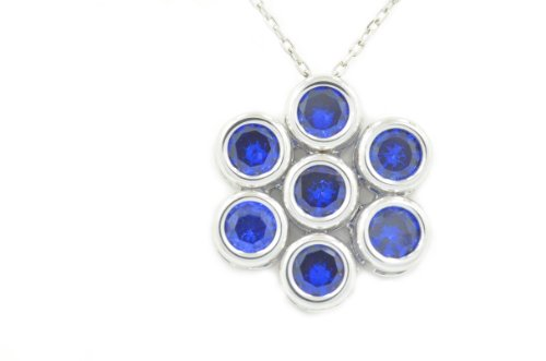 2 Ct Created Blue Sapphire Round Bezel Pendant .925 Sterling Silver Rhodium Finish