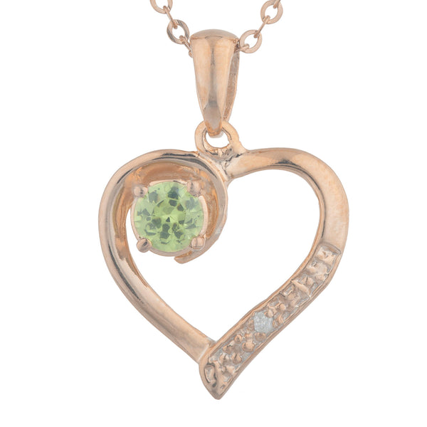 14Kt Rose Gold Plated Peridot & Diamond Heart Pendant
