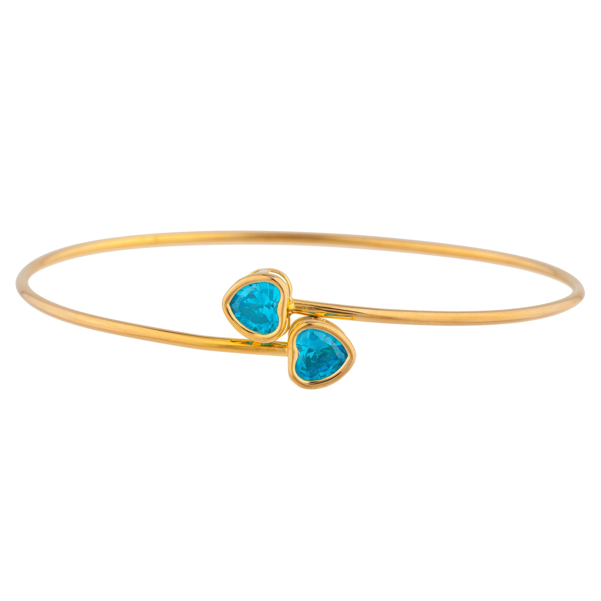 14Kt Yellow Gold Plated Swiss Blue Topaz Heart Bezel Bangle Bracelet
