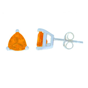 2 Ct Orange Citrine Trillion Stud Earrings .925 Sterling Silver