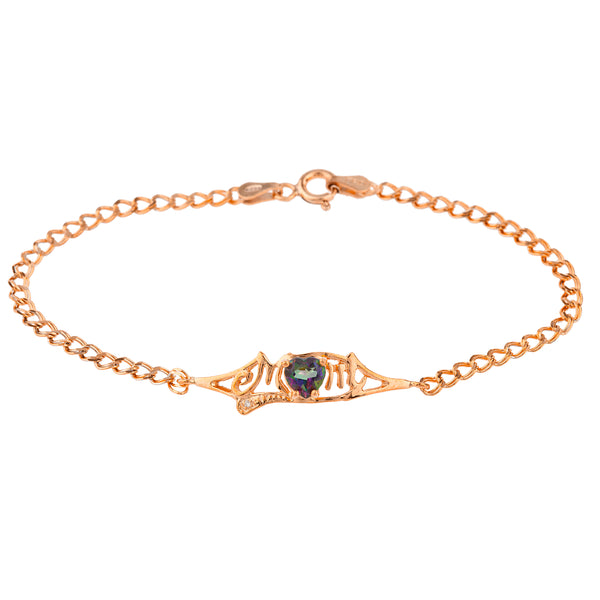 Natural Mystic Topaz & Diamond Heart Mom Bracelet 14Kt Rose Gold Plated Over .925 Sterling Silver