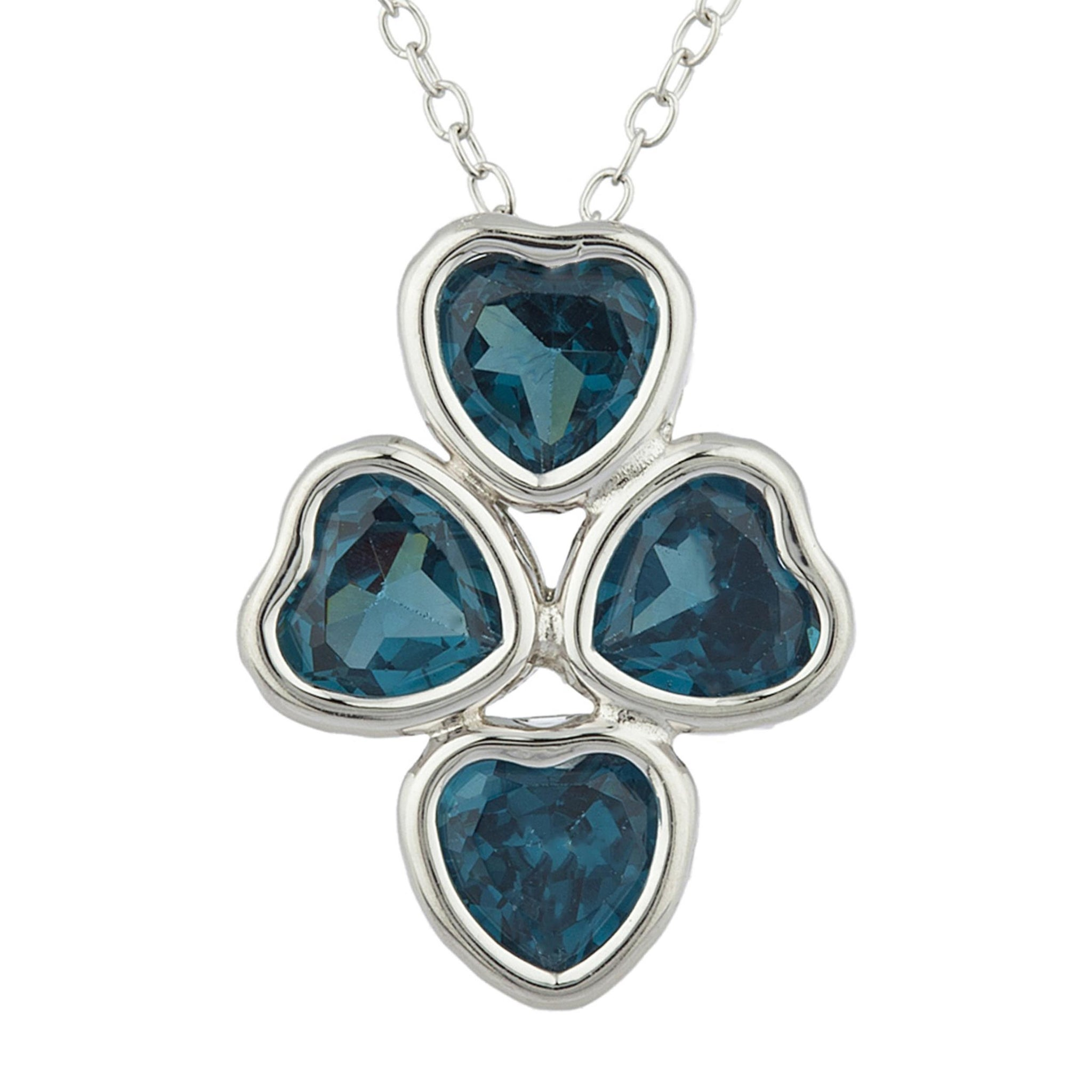 London Blue Topaz Heart Bezel Pendant .925 Sterling Silver