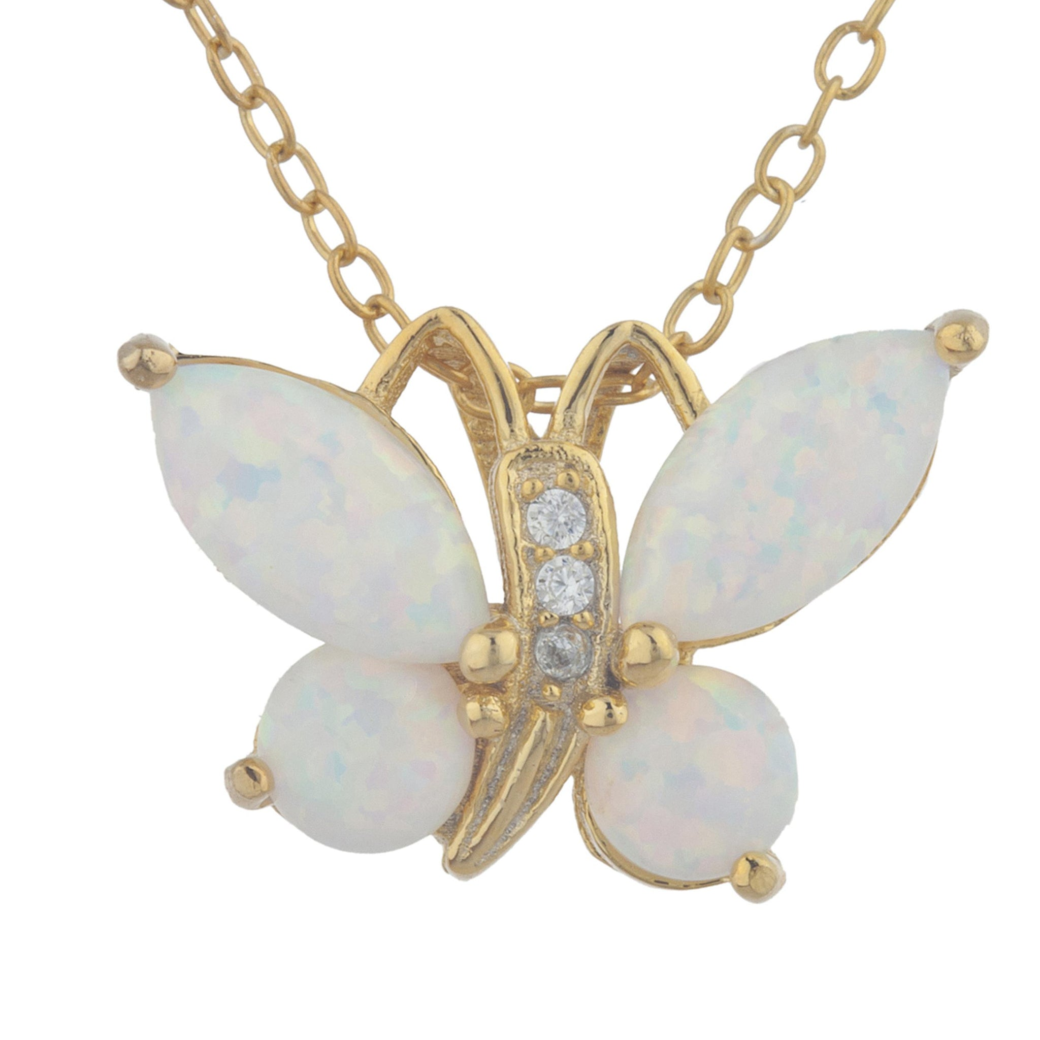 14Kt Yellow Gold Plated Opal Butterfly Pendant