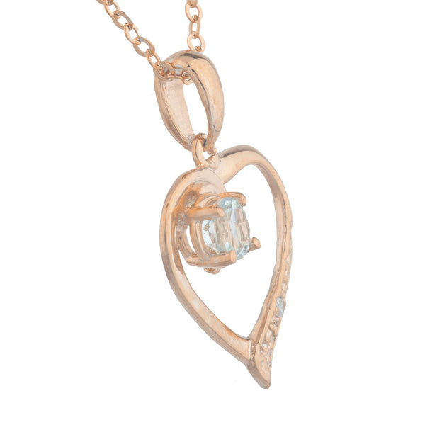 14Kt Rose Gold Plated Genuine Aquamarine & Diamond Heart Pendant