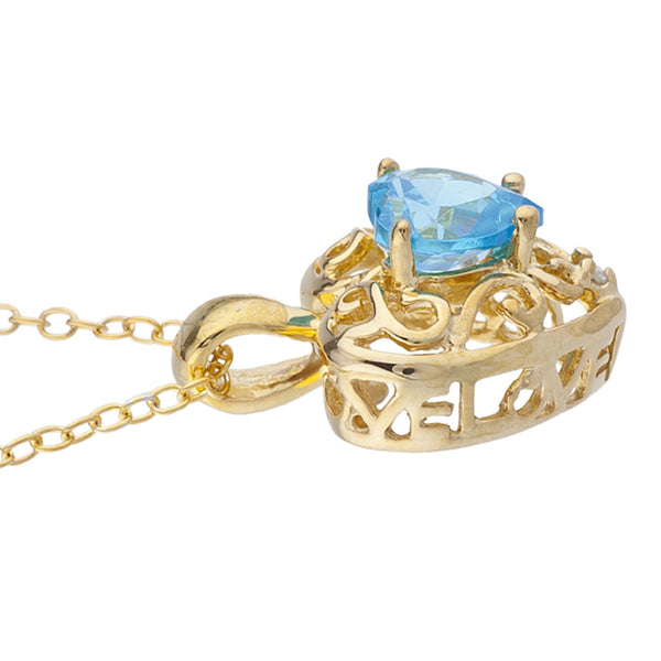 14Kt Yellow Gold Plated Swiss Blue Topaz & Diamond Love Design Heart Pendant