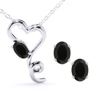 2.5 Ct Genuine Black Onyx Oval Heart Stud Earrings & Pendant .925 Sterling Si...