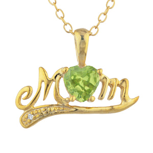 14Kt Yellow Gold Plated Peridot & Diamond Heart Mom Pendant
