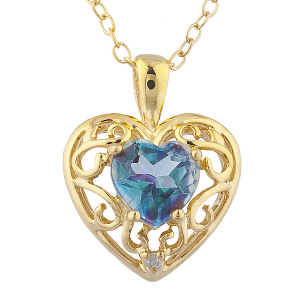 14Kt Yellow Gold Plated Natural Blue Mystic Topaz & Diamond Love Design Heart Pendant
