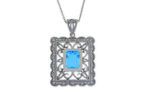 1.5 Ct Blue Topaz & Diamond Emerald Cut Pendant .925 Sterling Silver Rhodium Finish