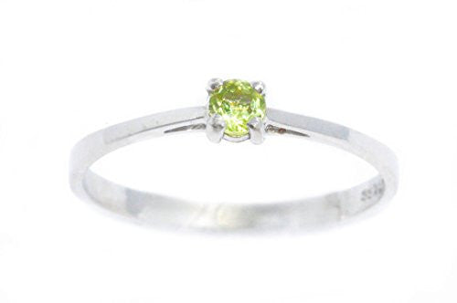 3mm Genuine Peridot Round Ring .925 Sterling Silver Rhodium Finish