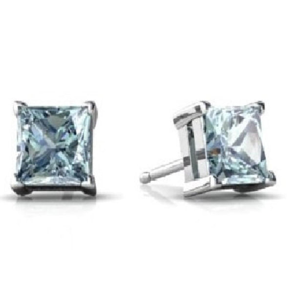 14Kt White Gold Aquamarine Princess Cut Stud Earrings