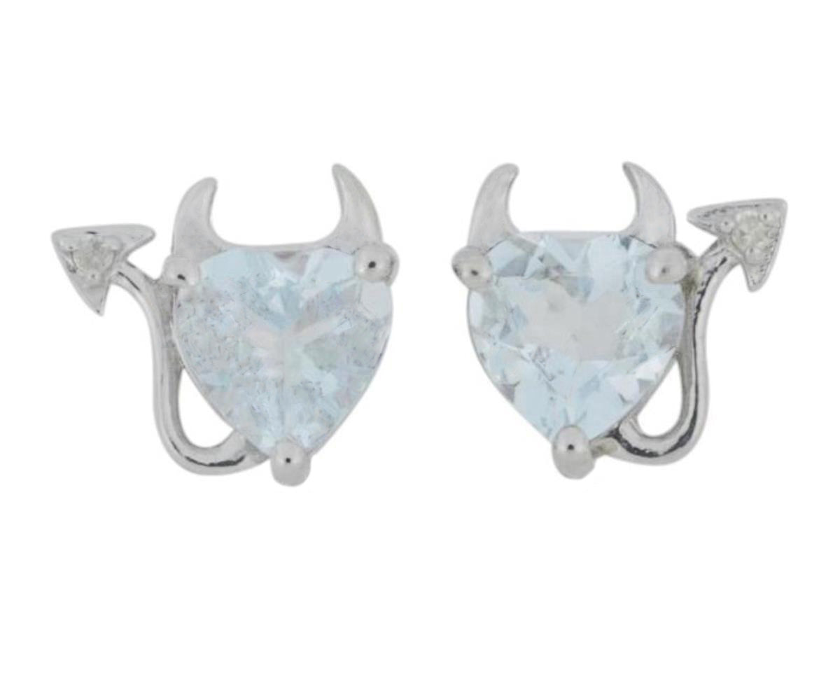 Genuine Aquamarine & Diamond Devil Heart Stud Earrings .925 Sterling Silver