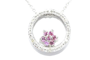 Pink Sapphire Round Diamond Pendant .925 Sterling Silver Rhodium Finish