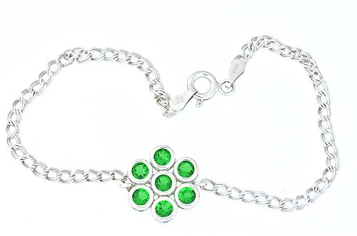 1.75 Ct Emerald Bezel Bracelet .925 Sterling Silver Rhodium Finish