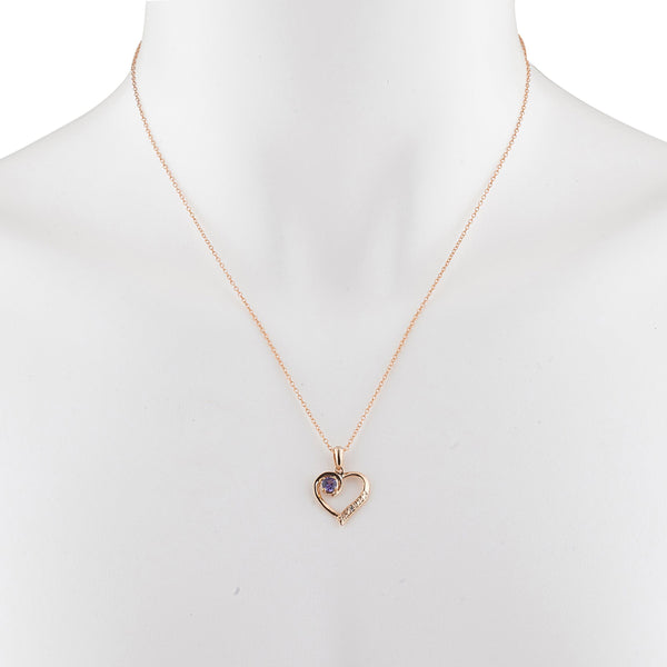 14Kt Rose Gold Plated Alexandrite & Diamond Heart Pendant