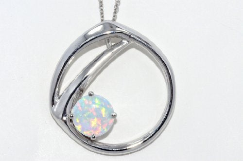 Opal Round Pendant .925 Sterling Silver Rhodium Finish