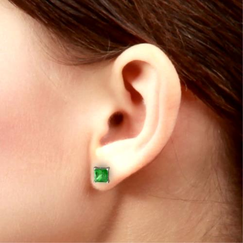 2 Ct Emerald Princess Cut Stud Earrings 14Kt White Gold