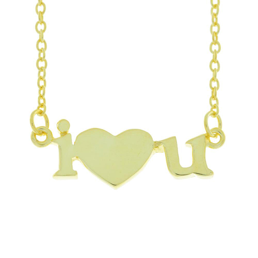 I Heart U Design Pendant 14Kt Yellow Gold Plated Over .925 Sterling Silver