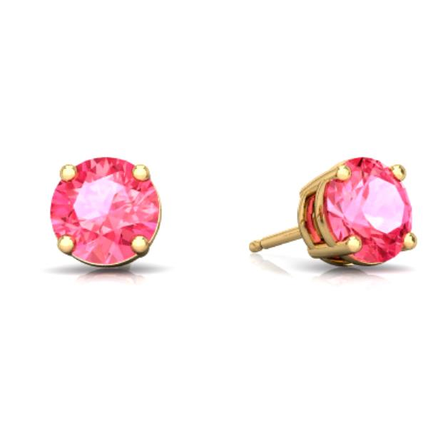 2 Ct Pink Sapphire Round Stud Earrings 14Kt Yellow Gold