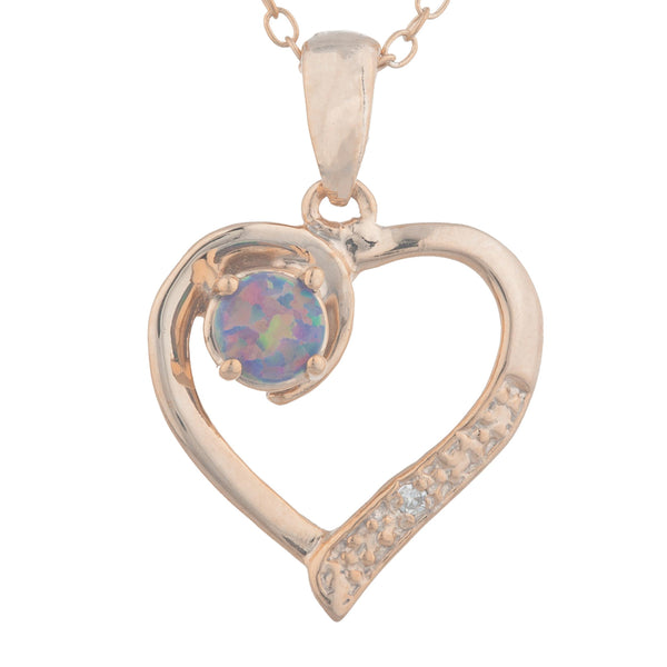 14Kt Rose Gold Plated Black Opal & Diamond Heart Pendant