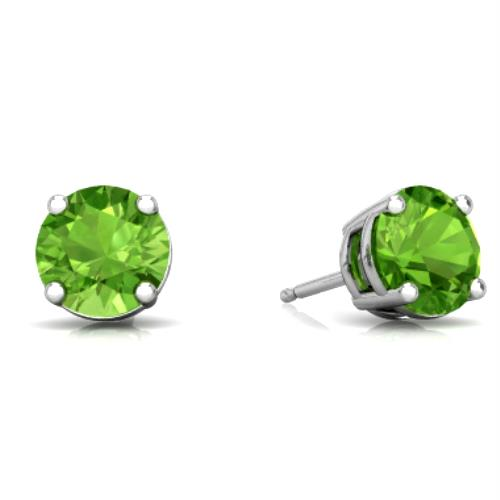 2 Ct Peridot Round Stud Earrings 14Kt White Gold