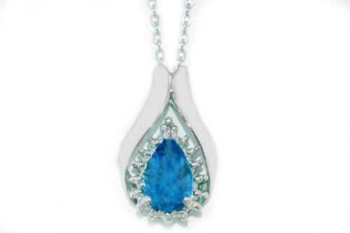 1.5 Ct Tanzanite Pear Diamond Pendant .925 Sterling Silver Rhodium Finish