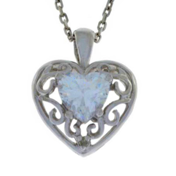 1 Ct Zirconia & Diamond Heart Love Engraved Pendant .925 Sterling Silver Rhodium Finish