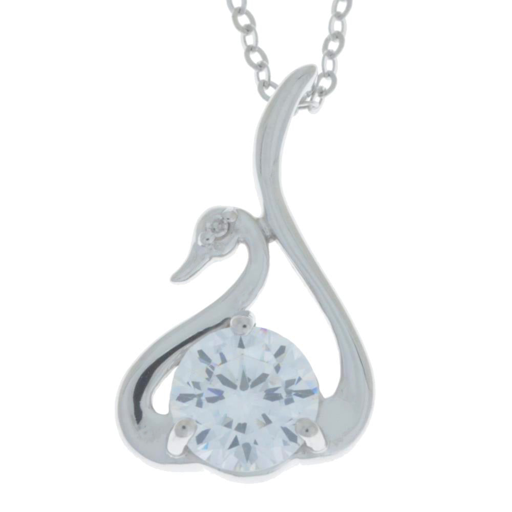 White Topaz & Diamond Swan Pendant .925 Sterling Silver
