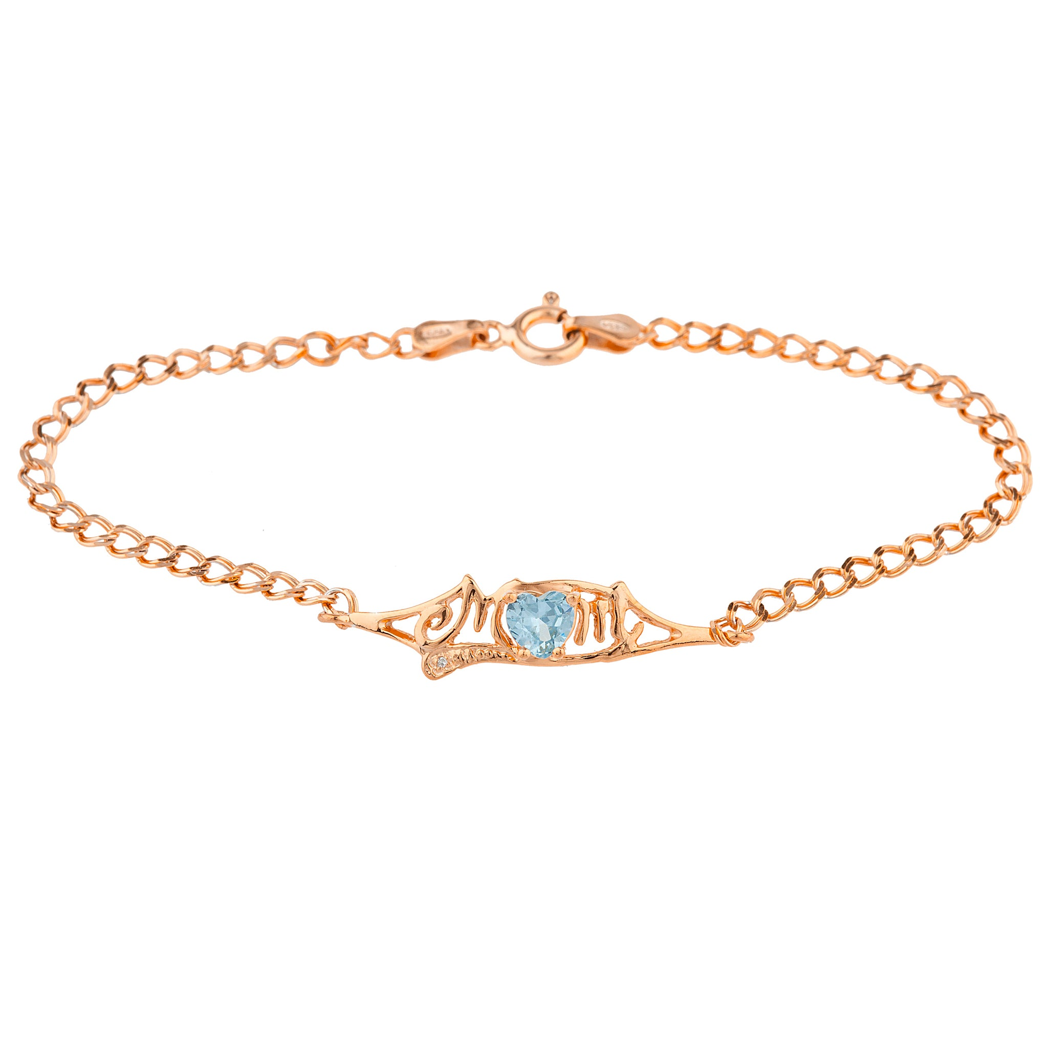 Aquamarine & Diamond Heart Mom Bracelet 14Kt Rose Gold Plated Over .925 Sterling Silver