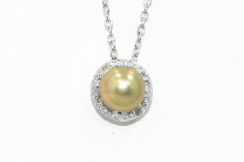Yellow Freshwater Pearl Round Diamond Pendant .925 Sterling Silver Rhodium Finish