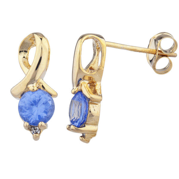 14Kt Yellow Gold Plated Tanzanite & Diamond Round Design Stud Earrings
