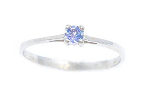 3mm Genuine Tanzanite Round Ring .925 Sterling Silver Rhodium Finish