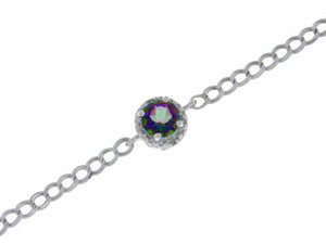 1 Ct Natural Mystic Topaz & Diamond Round Bracelet .925 Sterling Silver