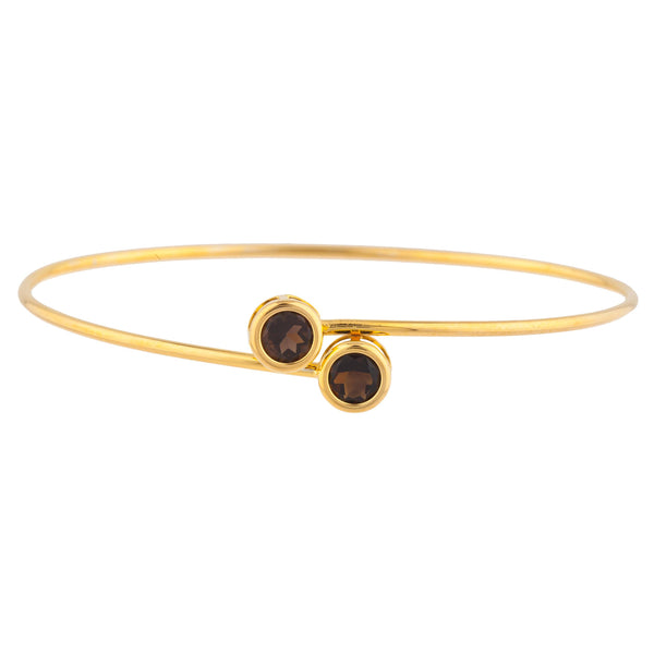 14Kt Yellow Gold Plated Genuine Smoky Topaz Round Bezel Bangle Bracelet