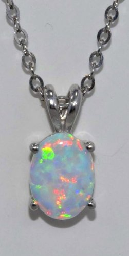 8x6mm Opal Oval Pendant .925 Sterling Silver Rhodium Finish