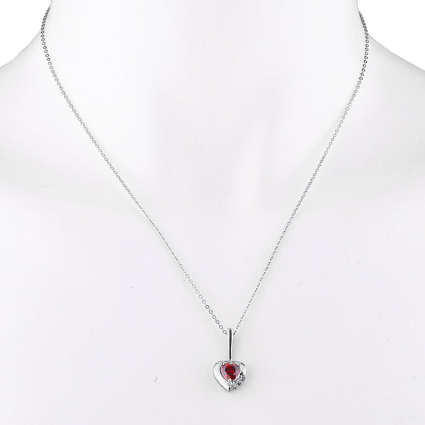 Garnet & Diamond Heart Pendant .925 Sterling Silver