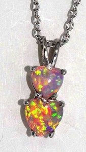 Pink Opal Double Heart Pendant .925 Sterling Silver Rhodium Finish