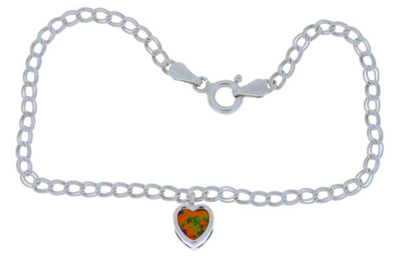 Black Opal Heart Bezel Bracelet .925 Sterling Silver Rhodium Finish [Jewelry]