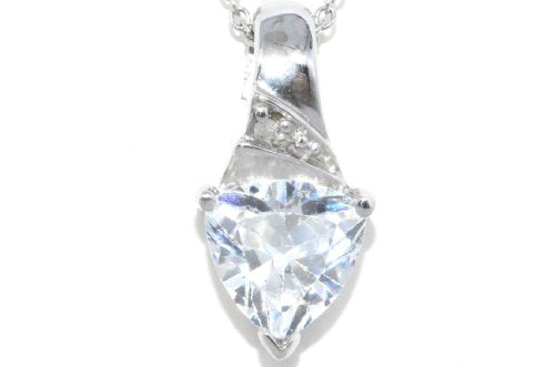 1.5 Carat Zirconia & Diamond Trillion Pendant .925 Sterling Silver Rhodium Finish
